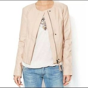 Free People Lace Faux Leather Cropped Moto Jacket